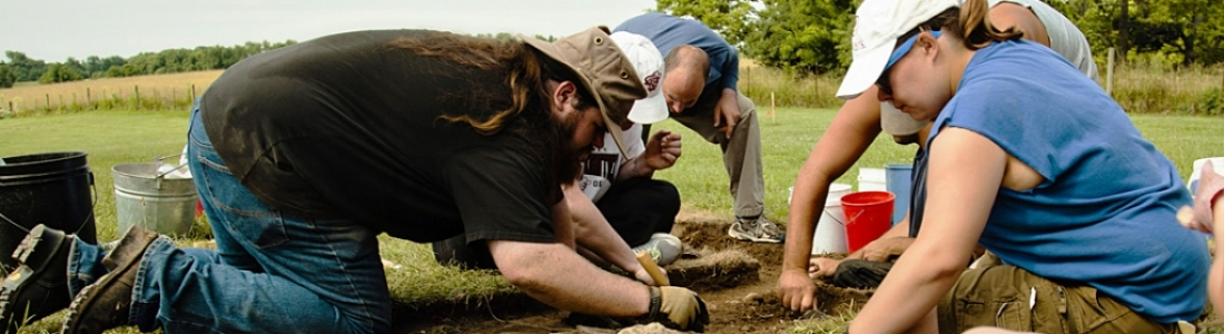 Anthropology students at archeology dig