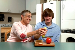 Occupational therapist working with a patient